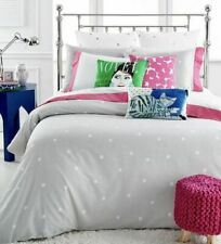 Kate Spade New York Polka Deco Dot Full/Queen 3pc Comforter Set Gray White
