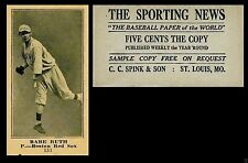 1915 THE SPORTING NEWS BABE RUTH AGED ROOKIE RC REPRINT YANKEES NEW YORK CARD