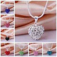 Chain Crystal Rhinestone Heart Necklace Silver Plated Pendant