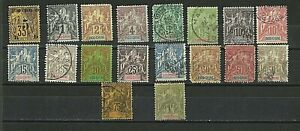 French Indo-China Stamps: 1889 -1900 1st Sets. SC 1 - 20, less 2,16 Used. CV 138