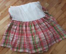 VTG WAVERLY HOME pink plaid check TWIN Size Bed Skirt heavy cotton Made in USA