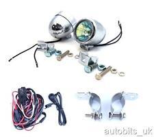 2x Bright Chrome Fog Spot Lights Motorcycle Car 4X4 58mm + Wiring + Brackets NEW