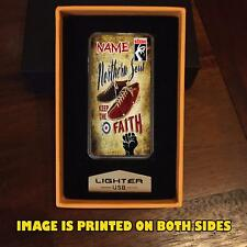 PERSONALISED NORTHERN SOUL KEEP THE FAITH SKA USB RECHARGABLE LIGHTER GIFT RETRO