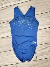 COMPETITION GK Elite Child Large Gymnastics Dance ULTRA SOFT Nylon Blue SEQUINS
