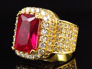 Yellow Gold Genuine VS Diamond Royal Ruby Statement Pinky Ring (5 Ct)