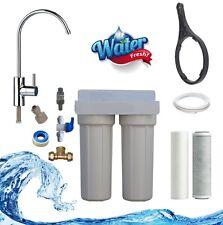 Premium Twin Undersink 2 Stage Water Filter System NSF Cabon GAC Designer Tap