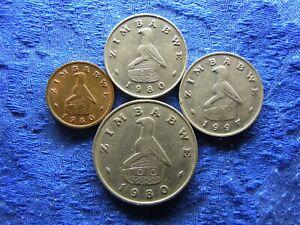 ZIMBABWE 1 CENT 1980 KM1, 20 CENTS 1980, 1997 KM4, 1 DOLLAR 1980 KM6