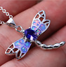 NEW 925 Silver Jewelry Dragonfly Blue Fire Opal Charm Pendant Necklace Chain