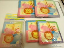 Baby Shower Zoo Pink Blue Napkins Invitations Decoration Lion Jungle Lot Pack NW