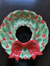 """Fitz and Floyd Classic Christmas 15"""" Holly Wreath Serving Plate"""