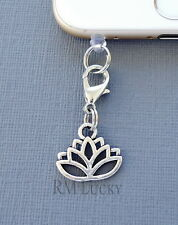 Lotus Flower cell phone Charm Anti Dust proof Plug ear jack Fits iphone C224