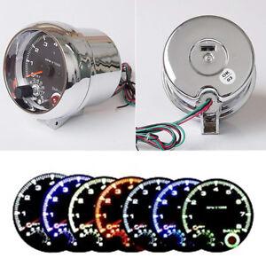 "Silver 3-3/4"" Analog Car Tachometer Gauge Tacho Revolution 8000 RPM Shift Light"