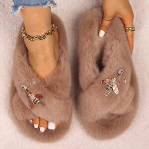 Faux Fur Slides Winter Luxury Rhinestone Chain Designer Fur Sandals Flip Flops