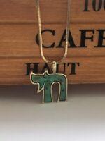 Chai Hai Judaica Necklace Shema Yisrael Hebrew Goldtone Jewish symbol of Judaism