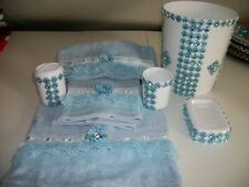 New listing 7Pc Blue And White Bathroom Accessories Set