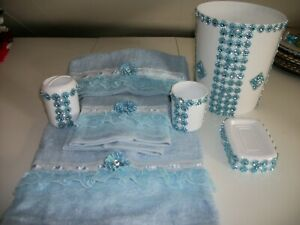 7PC BLUE AND WHITE BATHROOM ACCESSORIES SET
