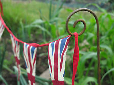 Set of Four Large Metal Garden Rusted Crooks Stake Allotment Plant Support.