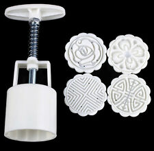 New Hot Moon Cake Decoration Mold mould 50g & flowers Round 4 stamps DIY Tool SH