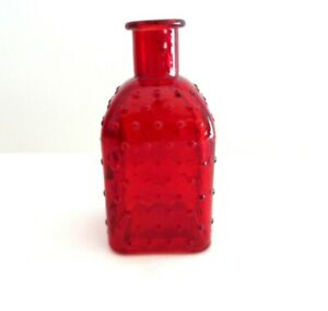 "Square Red Hobnail Bud Vase / Bottle Approx 5.25"" x 2.5""  #5927"