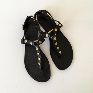 Tory Burch Womens Designer Leather Black Sandals with Gold Studs Size 7.5