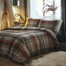 Dreams & Drapes - 100% Brushed Cotton Connolly Check Grey & Red Duvet Cover Set