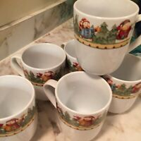 Gibson Snowman Frolic 2003 Coffee Mugs Set Of Six