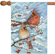 NEW Toland - Cardinals & Berries - Winter Bird Snow Branch House Flag