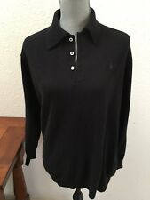 Women's Ralph Lauren Polo Sport Black Sweater Large L Small Hole See Photo