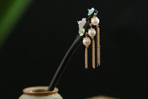 D13 Hair Pin Made Of Ebony with Pearls Flowers Tassel