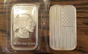1 American Flag 1 Buffalo Head Silver 1 Oz .999  Troy Ounce