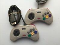 Lot of 2 Sega Saturn Official Authentic Original Controllers White - US SELLER