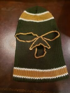 Vintage 70s 80s Knit Ski Mask Robber Olive Green Tan Trim 3 Hole