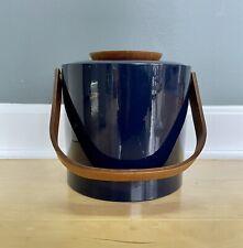 New listing Euc Mcm Signed Georges Briard Ice Bucket Blue Vinyl Wood Handle Barware