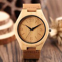 Fashion Nature Wood Bamboo Genuine Leather Band Women Men Quartz Wrist Watch