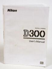 Nikon D300 User/Instructions Manual for Nikon D300 DSLR Camera Body - **EX**