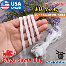 "10 yards Elastic Band 1/4"" Trim/Spandex/make mask string T181 White 6mm Braided"