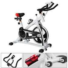 White Spin Exercise Bike Fitness Cardio Workout Machine For Home or Gym