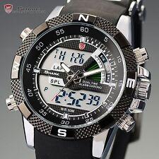 Porbeagle Shark LCD Digital Black Day Alarm Silicone Quartz Men Sport Watch