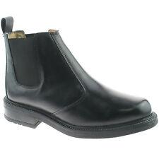 MENS ROAMERS LEATHER CHELSEA BOOTS SIZE UK 6 - 13 SLIP ON BLACK DEALER M049A KD