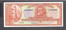 "Haiti p-180, AUNC, 5 Gourdes, 1919, Prefix ""J"""