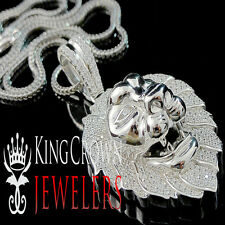 White Gold On Sterling Silver Mens XL Lion Head Lab Diamond Pendant Charm Chain