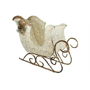 """Northlight 39"""" Ivory and Brown Sisal Sleigh Outdoor Christmas Decoration"""