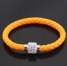BRACELET Leather Wrap Wristband Magnetic Rhinestone Buckle  Bangle Orange 🍊