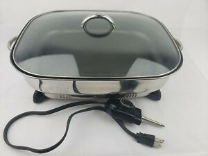 "Stainless Steel Non-Stick Electric Skillet Large 15"" GE 168948"