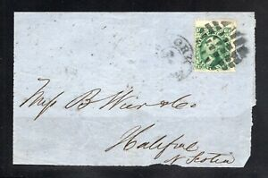 U.S. #68 w/Guideline and Part Adjacent Stamp Fancy Cancel on Cover to Canada!!!