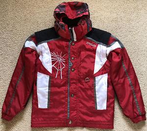 066 Spyder Ski Snow Board Jacket Kids 18 Very Warm Spider Hood Zip Off Sleeves