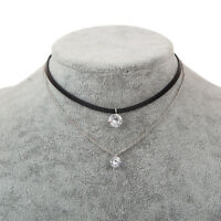 Charm Leather Trendy Choker Crystal Necklaces Pendants Women Gothic Collier Gift