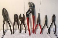 Mixed Lot of 7 Vintage Slip Joint Needle Nose Pliers Buffalo Cresent Barcalo