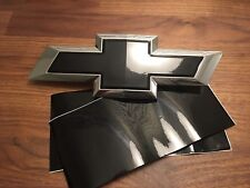 2 Silverado Gloss Black Universal Chevy Bowtie Vinyl Sheets Emblem Overlay