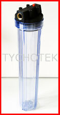 """Water filter housing 20"""" brass fittings pressure release polyprop polycarb"""